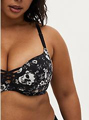 Black Skull Floral 360° Back Smoothing™ XO Push-Up Plunge Bra, ALLOVER BOUQUET SKULLS BLACK, alternate
