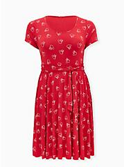Disney Minnie Mouse Red Jersey Tie Skater Dress, MINNIE SKETCHES, hi-res