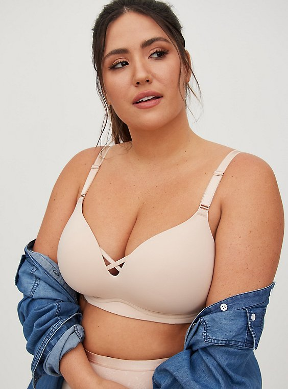 Beige 360° Back Smoothing™  Push-Up Wire-Free Bra, , hi-res