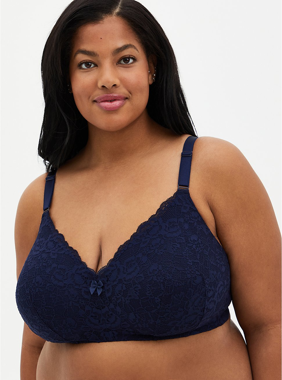Navy Lace 360° Back Smoothing™ Lightly Lined Everyday Wire-Free Bra, PEACOAT, hi-res