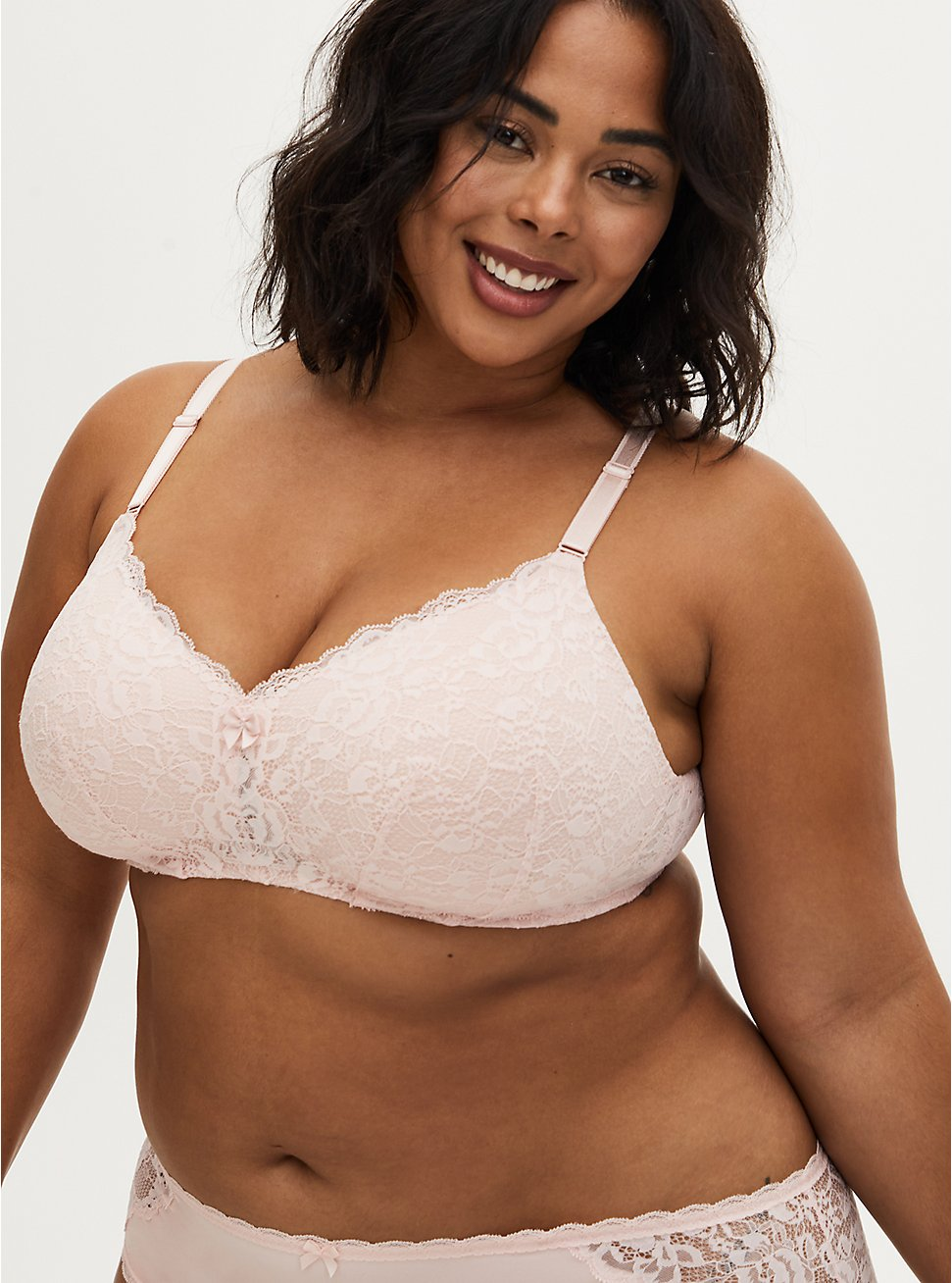Breast Cancer Awareness - Light Pink Lace 360° Back Smoothing™ Lightly Lined Everyday Wire-Free Bra, , fitModel1-hires