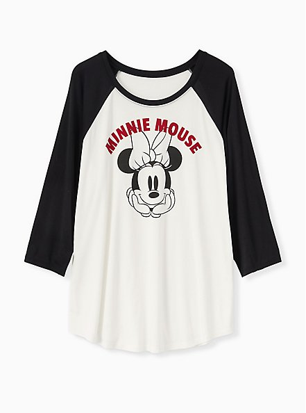 Disney Minnie Mouse White Jersey Raglan Top, CLOUD DANCER, hi-res
