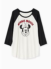 Disney Minnie Mouse White Jersey Raglan Top, CLOUD DANCER, hi-res