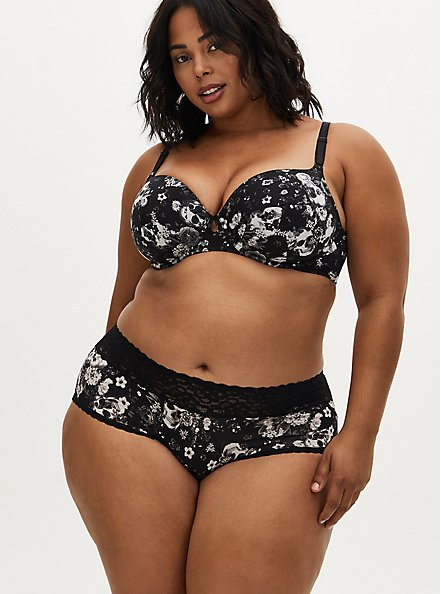 Plus Size Black Skull Floral 360° Back Smoothing™ Lightly Lined T-Shirt Bra, ALLOVER BOUQUET SKULLS BLACK, alternate