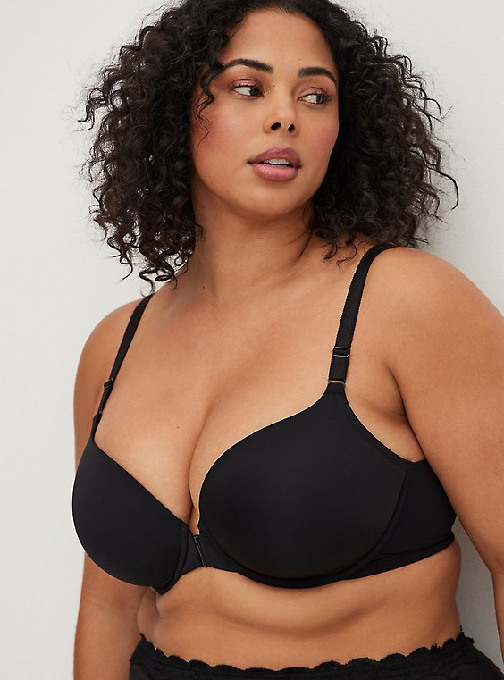 Black Front Clasp 360° Back Smoothing™ Lightly Lined T-Shirt Bra , RICH BLACK, hi-res