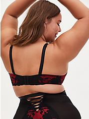 Red Microfiber & Black Lace XO Push-Up Plunge Bra, JESTER RED WITH BLACK, alternate