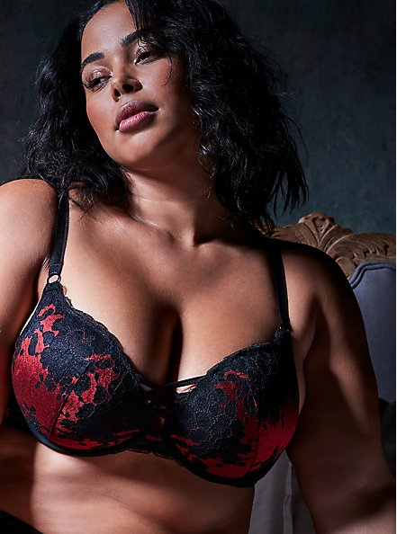 Red Microfiber & Black Lace XO Push-Up Plunge Bra, JESTER RED WITH BLACK, hi-res