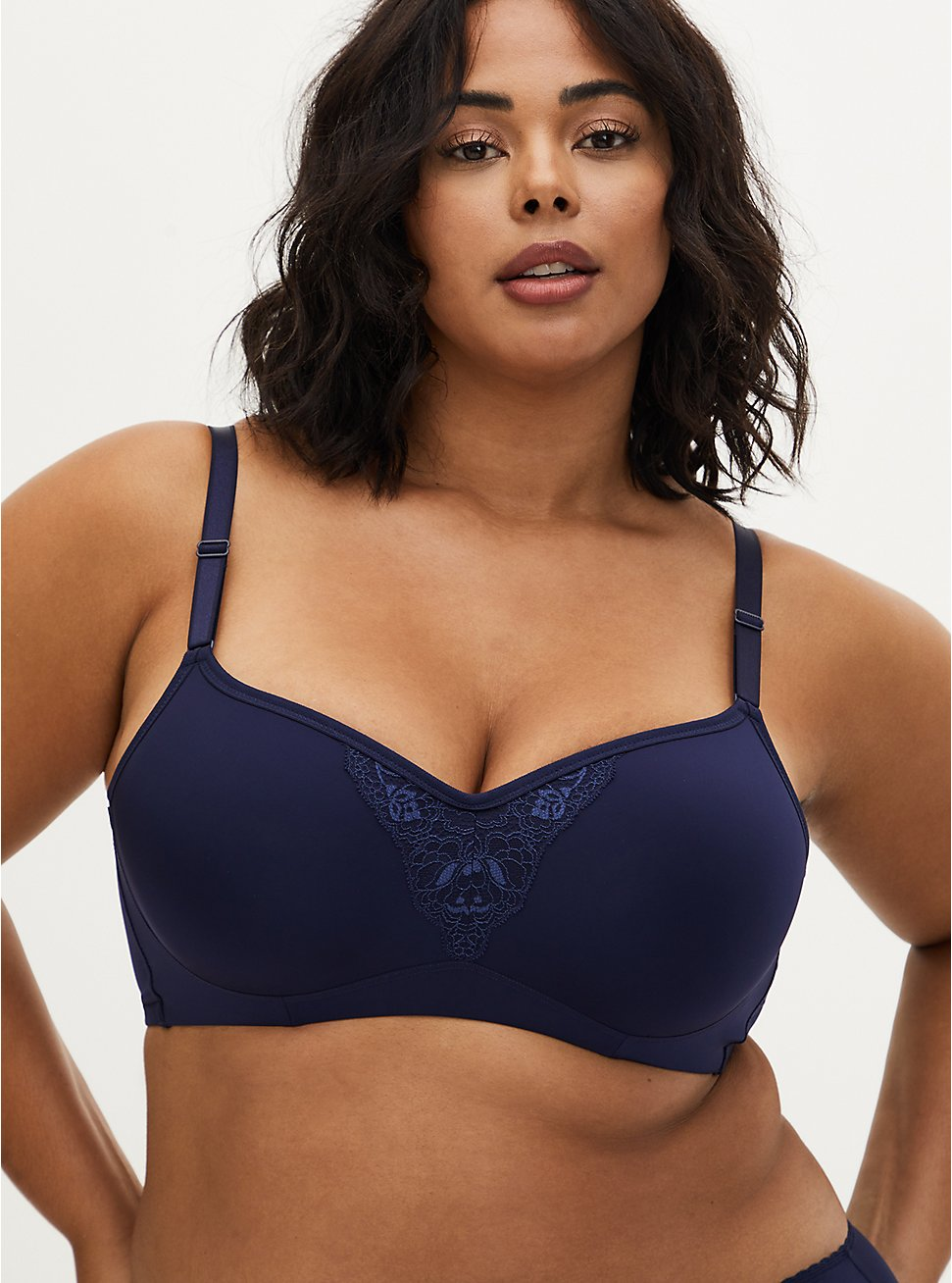 Navy Shine 360° Back Smoothing™ Lightly Lined Maximum Support Full Coverage Bra, , hi-res