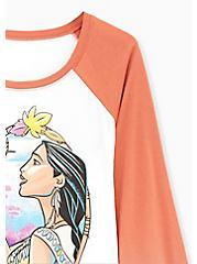 Disney Pocahontas & Flit Raglan Top - White & Vintage Orange, CLOUD DANCER, alternate