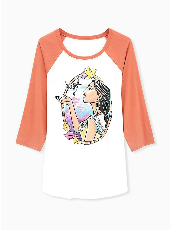 Disney Pocahontas & Flit Raglan Top - White & Vintage Orange, , hi-res