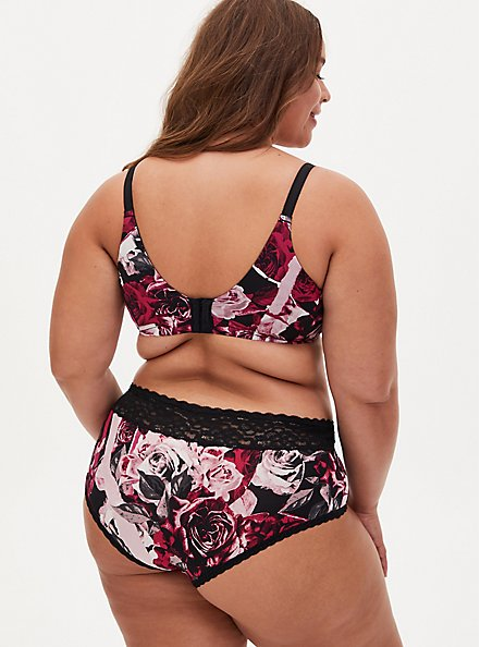 Black & Red Rose 360° Back Smoothing™ Push-Up T-Shirt Bra, TORN ROSE FLORAL BLACK, alternate