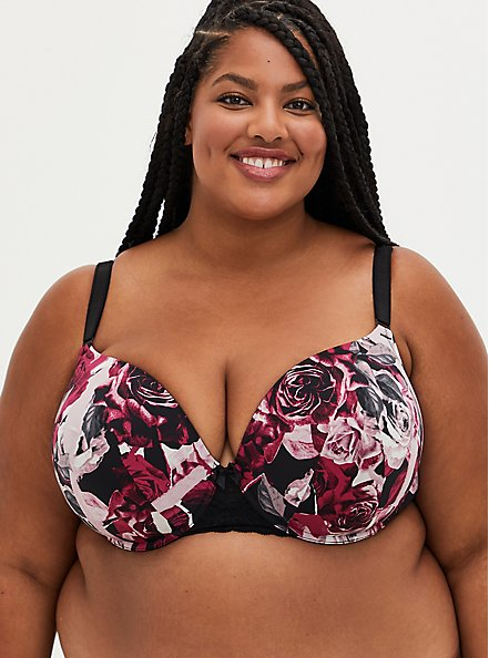 Black & Red Rose 360° Back Smoothing™ Push-Up T-Shirt Bra, TORN ROSE FLORAL BLACK, hi-res