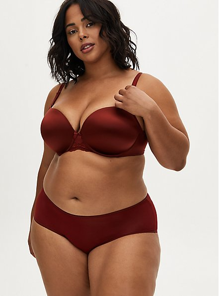 Burgundy Red Shine 360° Back Smoothing™ Push-Up T-Shirt Bra, SYRAH BURGUNDY, alternate