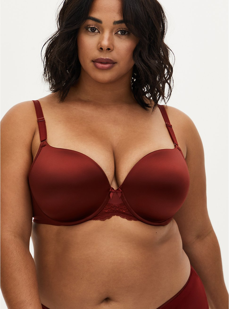 Burgundy Red Shine 360° Back Smoothing™ Push-Up T-Shirt Bra, SYRAH BURGUNDY, hi-res