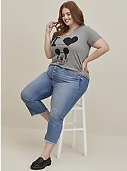 Disney Mickey Mouse Heart Heather Grey Jersey Top, MEDIUM HEATHER GREY, alternate