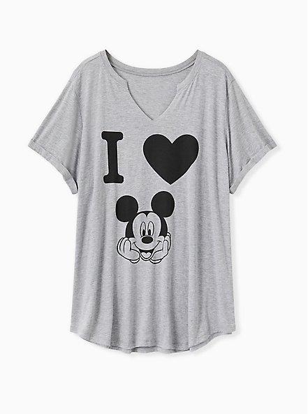 Disney Mickey Mouse Heart Heather Grey Jersey Top, MEDIUM HEATHER GREY, hi-res