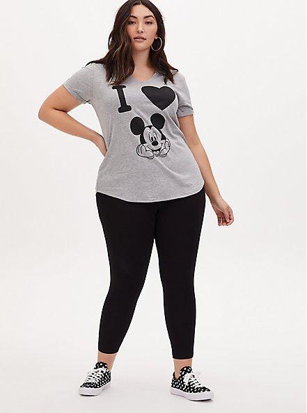 Plus Size Disney Mickey Mouse Black Crop Legging, DEEP BLACK, alternate