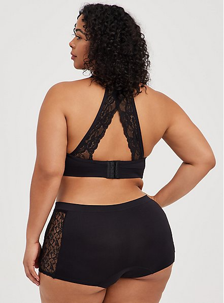 Black Racerback Seamless Lightly Padded Bralette, RICH BLACK, alternate