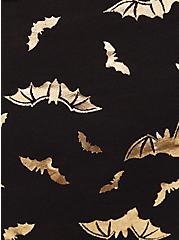 Gold Bat & Black Lightly Padded Cotton Bralette, FLYING BATS, alternate