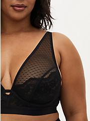 Black Swiss Dot Mesh & Lace Unlined Bralette , RICH BLACK, alternate