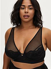 Black Swiss Dot Mesh & Lace Unlined Bralette , RICH BLACK, hi-res