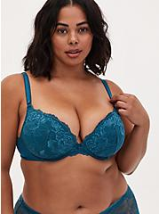 Teal Lace Push-Up Plunge Bra, BLUE CORAL- BLUE, alternate