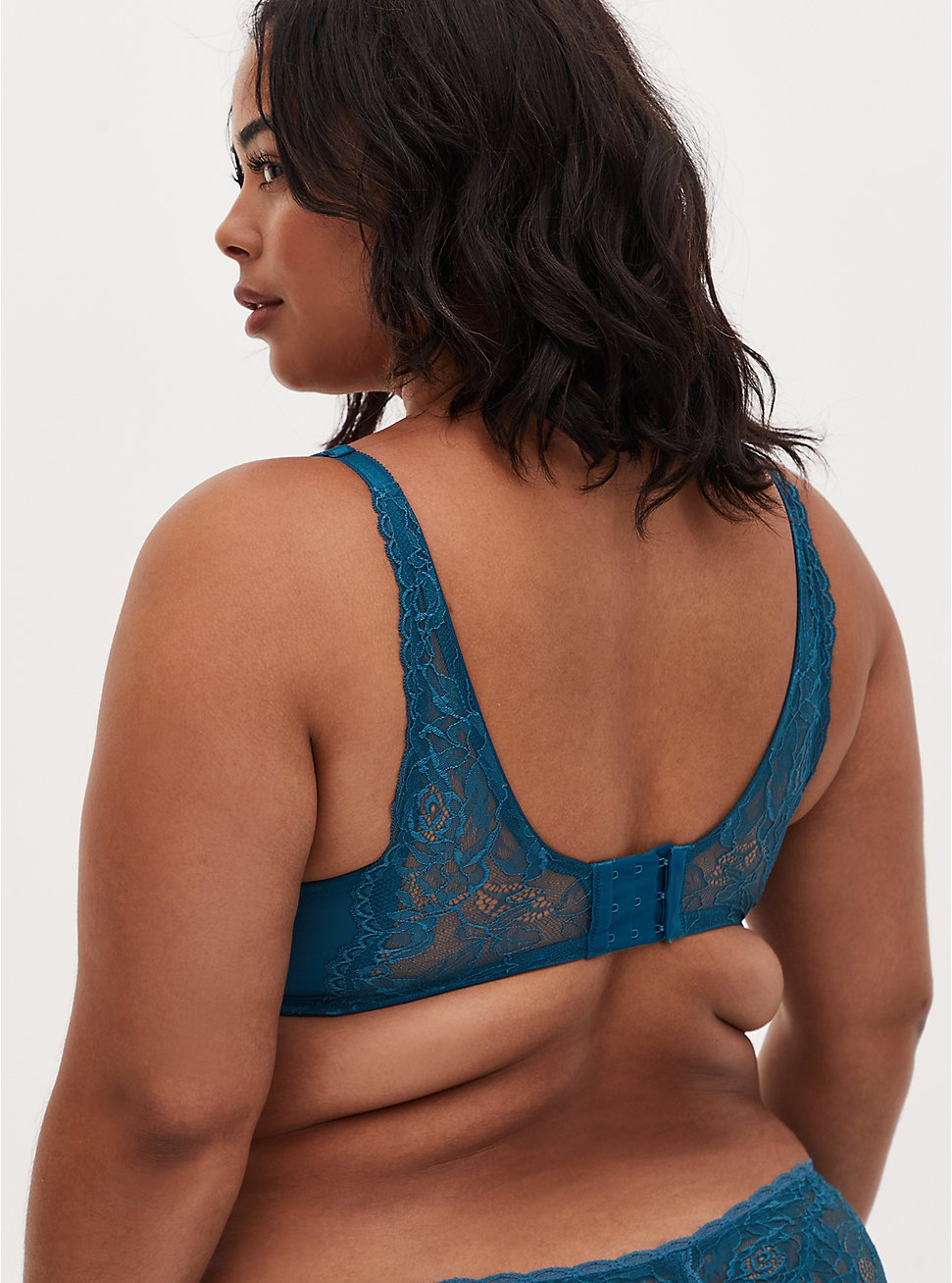 Teal Lace Push-Up Plunge Bra, BLUE CORAL- BLUE, hi-res