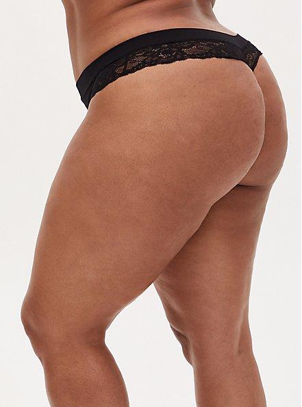 Black Lace Inset Seamless Thong , RICH BLACK, alternate