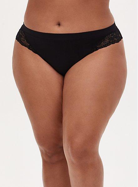 Black Lace Inset Seamless Thong , RICH BLACK, hi-res