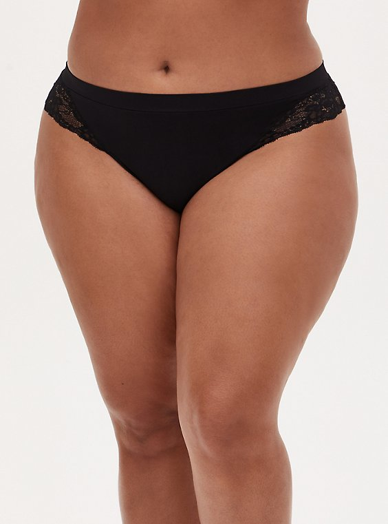Black Lace Inset Seamless Thong , , hi-res
