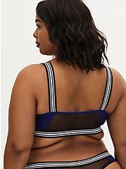 Black Mesh & Sapphire Blue Lace Stripe Trim Unlined Bralette , DEEP WATERS BLUE, alternate