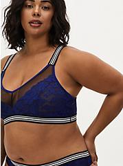 Black Mesh & Sapphire Blue Lace Stripe Trim Unlined Bralette , DEEP WATERS BLUE, hi-res