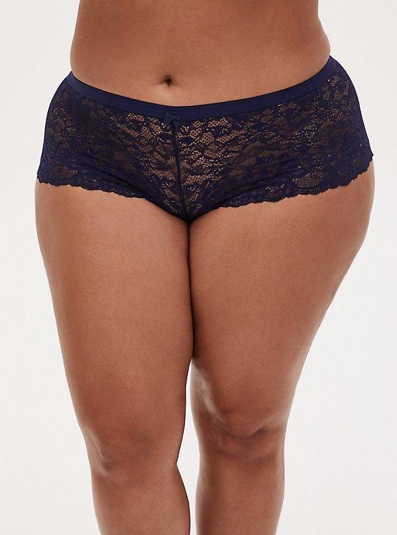 Navy Lace Cheeky Panty , , hi-res