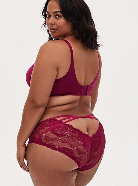 Berry Pink Strappy Open Back Hipster Panty , NAVARRA, alternate