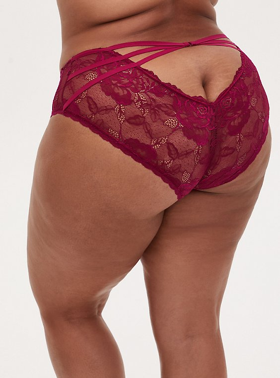 Berry Pink Strappy Open Back Hipster Panty , NAVARRA, hi-res