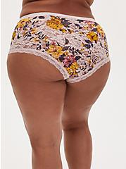 Plus Size Light Pink Floral Lace Brief Panty , BOUNTIFUL FLORAL LOTUS PINK, alternate