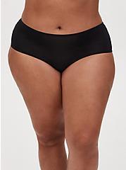 Black Microfiber Crossover Cutout Cheeky Panty, RICH BLACK, alternate
