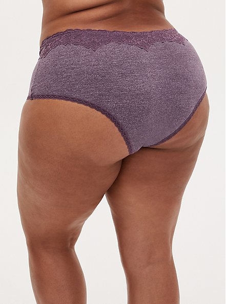 Heather Vintage Purple Cotton Cheeky Panty , VINTAGE VIOLET, alternate