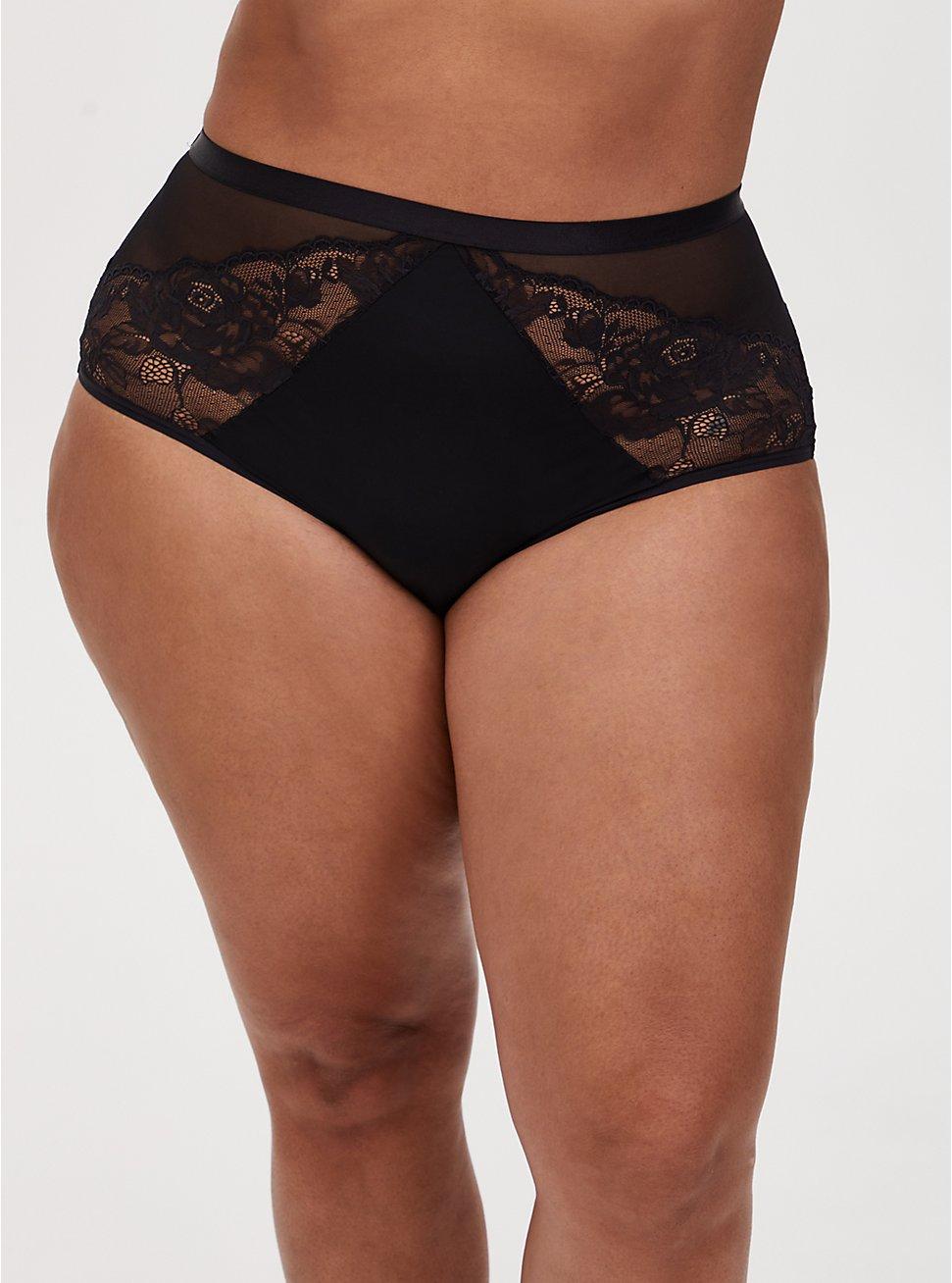 Black Mesh & Lace High Waist Panty , VINTAGE VIOLET, hi-res