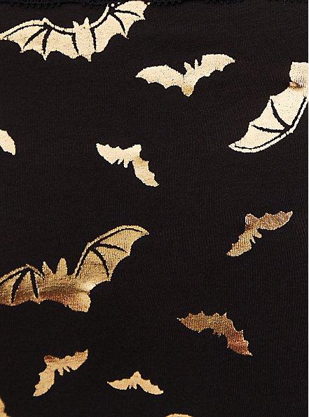 Gold Bat & Black Wide Lace Cotton Cheeky Panty , RICH BLACK, alternate
