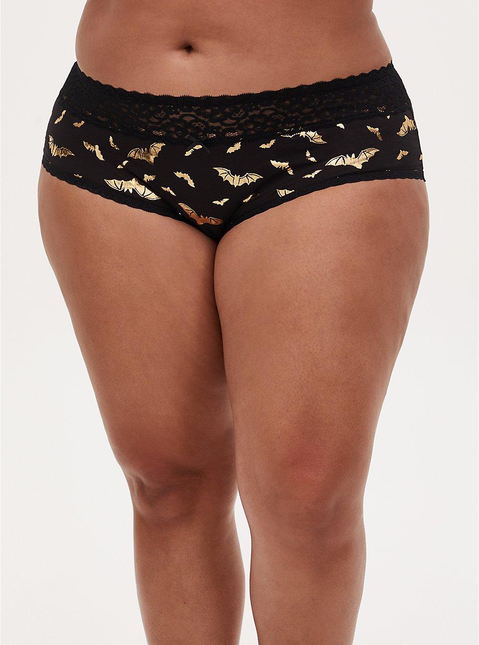 Gold Bat & Black Wide Lace Cotton Cheeky Panty , RICH BLACK, hi-res