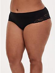 Black Lace Inset Seamless Hipster Panty , RICH BLACK, alternate