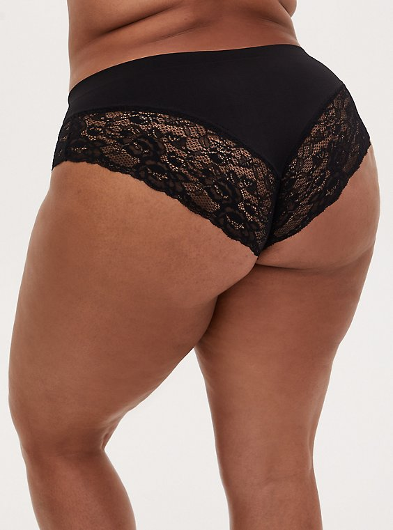 Black Lace Inset Seamless Hipster Panty , RICH BLACK, hi-res