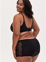 Black Lace Inset Seamless Boyshort Panty , RICH BLACK, alternate