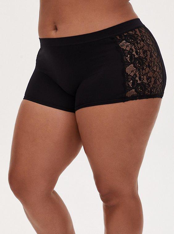 Black Lace Inset Seamless Boyshort Panty , RICH BLACK, hi-res