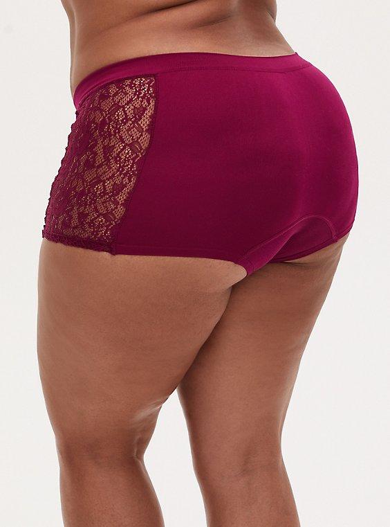 Berry Pink Lace Inset Seamless Boyshort Panty , NAVARRA, hi-res