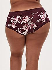 Burgundy Purple Floral Wide Lace Shine Cheeky Panty, WINETASTING, alternate