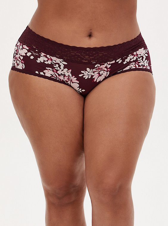 Burgundy Purple Floral Second Skin Cheeky Panty, , hi-res