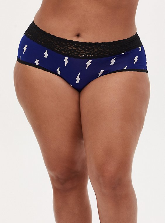Navy Lightning Bolt & Black Wide Lace Shine Cheeky Panty , DEEP WATERS BLUE, hi-res