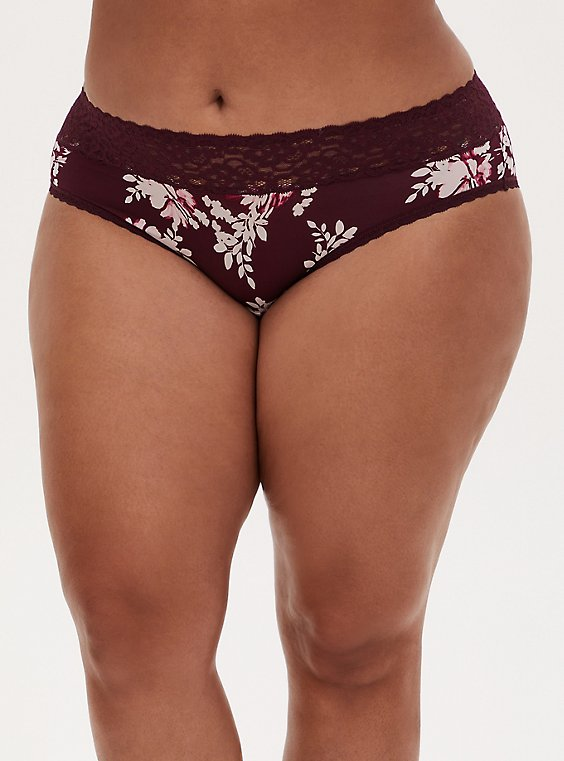Burgundy Purple Floral Second Skin Hipster Panty, , hi-res